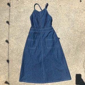 Lace up back denim midi dress